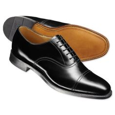 Black Flemming Oxford shoes | Men's business shoes from Charles Tyrwhitt | CTShirts.com