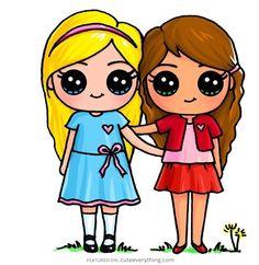 Best friends bff drawings, drawings of friends, kawaii drawings, cartoon . Kawaii Girl Drawings, Bff Drawings, Cute Easy Drawings, Cute Girl Drawing, Cartoon Drawings, Draw So Cute Girl, Kawaii Disney, Cute Best Friend Drawings, Drawings Of Friends