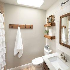 Coat Hook Board with 4 Double Hooks: Walnut Stained Board Coat Hook Board with 4 Double Hooks: Walnu Hang Towels In Bathroom, Bathroom Storage, Bath Towels, Small Bathroom, Bathroom Ideas, Easy Bathroom Updates, Wood Bathroom Shelves, Shiplap Bathroom Wall, Zebra Bathroom