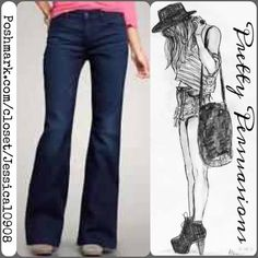 "GAP Long & Lean Wide Leg Jeans Waist: 30"" Hips: 35"" Rise: 9"" Inseam: 31.5""  Leg hole opening: 11.5"" (measured laying flat & straight across) 23"" all around. Note: minor wear at bottom back of pant leg. see last photo for detail. Stock photo from gap and is of a similar pair of their long & lean/wide leg jeans. GAP Jeans Flare & Wide Leg"