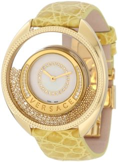 Versace Women`s Destiny Spirit Yellow-Gold Plated Mother-Of-Pearl Diamond Crocodile Watch Cool Watches, Watches For Men, Woman Watches, Unique Watches, Cheap Watches, Lila Gold, Instyle Fashion, Versace Gold, Schmuck Design