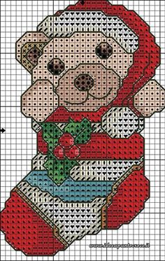 Orsetto calza di Natale Christmas Charts, Christmas Afghan, Cross Stitch Christmas Ornaments, Christmas Crochet Patterns, Christmas Cross, Cross Stitch Stocking, Xmas Cross Stitch, Cross Stitch Charts, Cross Stitching