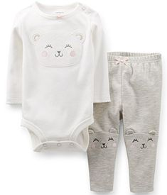 8aa0db97f2c Carters Baby Girls 2Piece Bodysuit and Pant Set 12 Months WhiteGrey --  Check out the