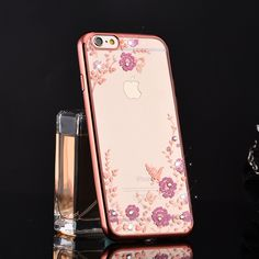 For for apple 6plus 5s phone case set for for iphone 6 finger ring mount silica gel protective case set female rhinestone   iPhone Covers Online