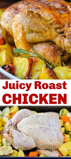 There's nothing like the aroma of a chicken roasting in the oven. The butter and simple salt and pepper seasoning give this a crisp salty skin with a juicy and tender center. You'll cut into the juiciest chicken breast! You can roast the chicken with vegetables and make it a one-pan meal. If you are a fan of chicken dinners, this Roasted Chicken is a must-try! #natashaskitchen #roastedchicken #wholeroastedchicken #juicychicken #chickendinner #bakedchicken #healthychicken #chickenbrea Easy Roasted Chicken Recipe, Chicken Recipes Video, Grilled Chicken Recipes, Meat Recipes, Chicken Meals, Dinner Recipes, Cooking Recipes, Weekly Recipes, Top Recipes