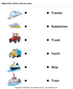 Vehicles - identify and match names. Reading Worksheets, Preschool Worksheets, Preschool Crafts, Transportation Worksheet, Transportation Theme, Science Fiction, English Lessons For Kids, New Students, Learning Activities