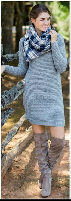 Love this grey sweater dress and plaid scarf!  These boots are perfect! Stitch fix 2016. Stitch fix fall 2016.  Stitch fix winter 2016.  Fall  fashion trends and inspiration.