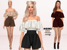 Clothing: NOMI - Outfit by Helsoseira from The Sims Resource Sims Mods, Sims 4 Game Mods, Sims 4 Mods Clothes, Sims 4 Clothing, Sims 4 Piercings, Sims 4 Tsr, The Sims 4 Cabelos, Sims 4 Dresses, Sims 4 Outfits
