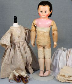 """19"""" German Wax Over Paper-Mache Doll with Taufling Body, Rarer Brown from signaturedolls on Ruby Lane"""