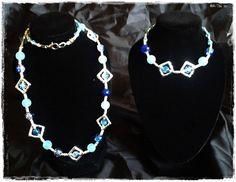 Kette in blau und silber (52 cm lang) mit dazu passendem Armband (19-21 cm, verstellbar)