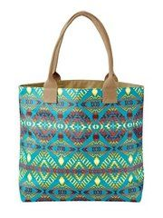 Pendleton Thunder and Earthquake, Turquoise Tote Bag. This bag is perfect to take to the beach and the canvas is PVC coated so that it does not soak up the water. NativeDirect.com
