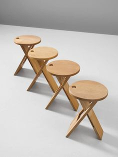Roger Tallon // Foldable Stools In Maple