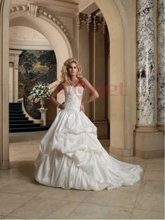 $303.33Fashion Strapless Chapel Train Taffeta Ball Gown Wedding Dress #With #Pick #Ups