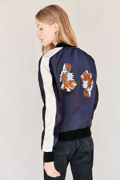 Reminiscent of pisces~  Urban Renewal Recycled Embroidered Satin Bomber Jacket
