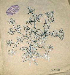 Vintage Deighton Embroidery Transfer Rose Thistle Clover Flower Spray   eBay