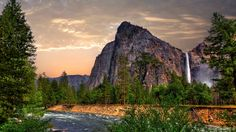 Yosemite, 5k wallpapers, forest, OSX, waterfall, apple, mountains