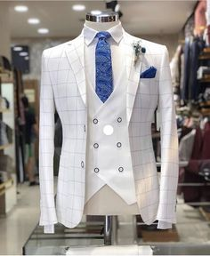 Wedding Suits Slim-Fit Plaid Suit White - Available Size : material : e viscose , 2 polyester , lycra Machine washable : No Fitting : slim-fit Remarks : Dry Cleaner Indian Men Fashion, Mens Fashion Suits, Mens Suits Style, Fashion Hats, Fashion Rings, Womens Fashion, Dress Suits, Men Dress, Traje Casual