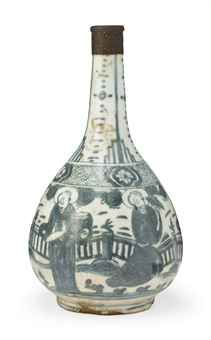 AN INTACT SAFAVID BLUE AND WHITE BOTTLE  IRAN, 17TH CENTURY  Of pear shape on short straight foot, the decoration on three registers, the lower with figures enjoying a garden, the intermediate with floral medallions on a lattice ground, and the upper with some abstract geometric patterns, the mouth with a finely engraved copper-alloy fitting, old labels to the base and on lower body  10½in. (26.5cm) high