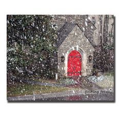 Snowfall Flurries Photo, Gray Stone Church, Scarlet Garnet Crimson Ruby Red Doors, Snowing Print, 8x10 Peaceful Winter Christmas Photograph by findingfocus via Etsy. #fpoe