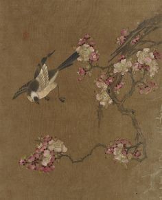 'Bird and Flowers' (Ming dynasty). Silk painting by an unknown artist from China. Image and text courtesy Freer Gallery of Art and Arthur M. Gift of Charles Lang Freer. Plant Painting, China Painting, Silk Painting, Freer Gallery, China Art, Japanese Painting, Japan Art, Texture Art, Ancient Art