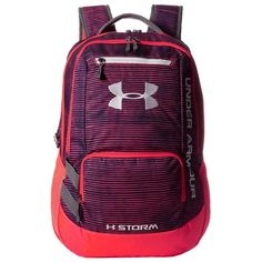 Under Armour UA Hustle Backpack found on Polyvore featuring polyvore, women's fashion, bags, backpacks, strap backpack, backpack bags, expandable backpack, day pack backpack and laptop pocket backpack