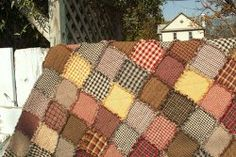 The Adaptable Rag Quilt tutorial includes tips for making a rag quilt that will fit various bed sizes. These cute rag quilts can be made as small as a lap quilt or as large as quilts for king size beds. Make sure to use homespun fabrics for the best fraying!