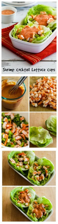 Shrimp Cocktail Lettuce Cups are perfect for a low-carb and gluten-free meal or game-day snack.  I could eat this once a week and I'd never get tired of these flavors!  [found on KalynsKitchen.com)