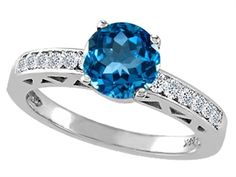 Genuine Blue Topaz and Diamond Solitaire Engagement Ring