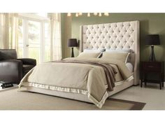 The Park Avenue upholstered bed from Diamond Sofa. Love the tall headboard and deep tufting! http://farbelowretail.net/shop/park-avenue-upholstered-bed/