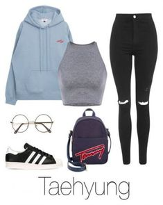 A fashion look from April 2017 featuring Topshop jeans, adidas Originals sneakers y Tommy Hilfiger backpacks. Browse and shop related looks. Teenage Outfits, Outfits For Teens, Fall Outfits, Jugend Mode Outfits, Bts Clothing, Look Fashion, Womens Fashion, Edgy Teen Fashion, Bts Inspired Outfits