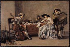 Interiör med tre män och en kvinna