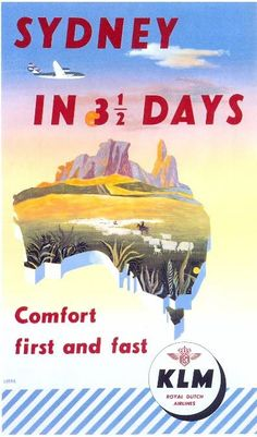 Awesome vintage airline posters and classic airline travel advertisements that will make you wish you could go back in time and visit the golden age of air travel. Vintage Advertising Posters, Vintage Travel Posters, Vintage Advertisements, Vintage Airline, Travel Ads, Airline Travel, Air Travel, Royal Dutch, Posters Australia