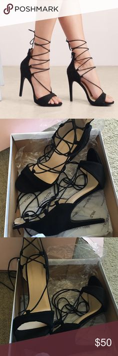 Lace up heels, never worn Black suede. Purchased online as a size 7 but they fit way bigger than a size 7, definitely size 8. Bought them for $70, willing to negotiate price. Starting at $45. Very cute, bummed they don't fit. Tobi Shoes Heels