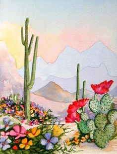 Desert Deva - Southwest Art Print Saguaro and Blooming Prickly Pear Cactus Cactus Drawing, Cactus Painting, Cactus Art, Watercolor Landscape, Watercolor Paintings, Watercolor Cactus, Watercolors, Southwestern Art, Desert Art