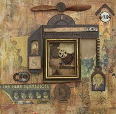 Found recycled art assemblage utlizing gear from the past. Using  a distressed collage painted background substraight to work off of.  By Susan Spencer