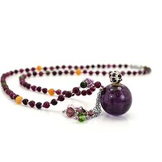 [Generic]Generic Glass Aromatherapy Essential Oil Necklace Difusser Charm Ball Pendant Jewelry with Tourmaline Stone Beads Chain (Lucky Ball Purple) 구매대행 - Macyskorea 홈 > TOY > Toys