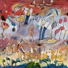 Diane Culhane Three Boats- Acrylic on Canvas http://www.dianeculhaneart.com/