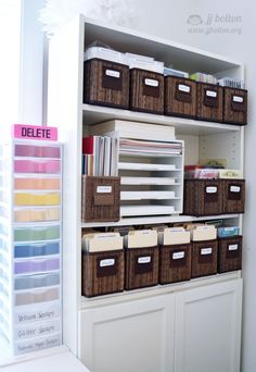 JJ Bolton {Handmade Cards}: Craft Room Revisit - love the colored mini drawers for scraps