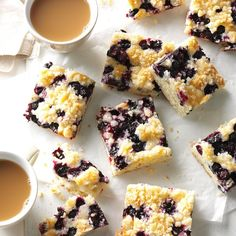 Blueberry Kuchen Recipe -In the summer, we can get beautiful, plump blueberries, which I use in this easy-to-make coffee cake. I like to freeze extra blueberries so I have them available any time I want this treat. —Anne Krueger, Richmond, British Columbia Blueberry Recipes, Blueberry Kuchen Recipe, Blueberry Torte, Fruit Recipes, Cake Recipes, Dessert Recipes, Summer Recipes, Dessert Ideas, Breakfast Recipes