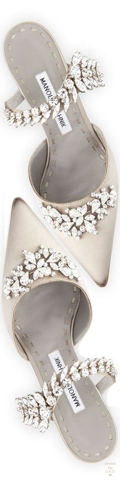 Manolo Blahnik Lurum Crystal-Embellished Mule Pumps