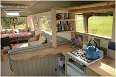 "The Majestic Bus - Converted Bedford Panorama Bus Glamping Accommodation near Hay-on-Wye. Note ""L"" shaped kitchen with seating on living room side. Bus Living, Tiny House Living, Cozy House, Living Room, Glamping, School Bus House, Converted Bus, Tiny House Swoon, School Bus Conversion"