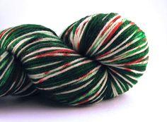 Ribbon Candy Swirl- Hand Painted - Sock Yarn  - Freckled Yarn - Christmas Yarn - Gift for knitter - Holiday Yarn - Jingle Bells