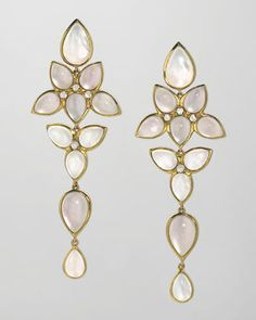 Captured drops of melting snow...Elizabeth Showers Mariposa 18k Gold Long Milky Quartz Chandelier Earrings.