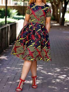 Print Mid-Calf Round Neck Standard-Waist Color Block Casual Dresses – Erchic by laviye Ankara Dress Styles, African Fashion Ankara, Latest African Fashion Dresses, African Dresses For Women, African Print Dresses, African Print Fashion, African Attire, Ankara Gowns, African Dress Styles