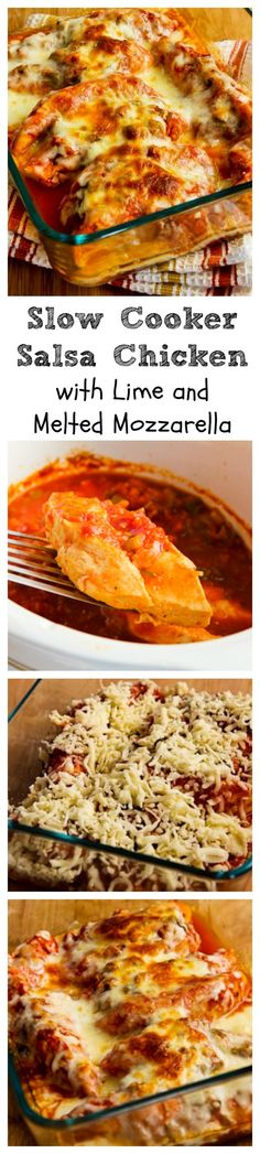 This #LowCarb and #Glutenfree Slow Cooker Salsa Chicken with Lime and Melted Mozzarella is a recipe that took quite a few tries to get a result that wasn't watery, but we loved the final version!  This would make a perfect dinner for Cinco de Mayo, and it's also a great summer dinner because this cooks mostly in the slow cooker without heating up the house.  [from KalynsKitchen.com]