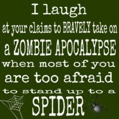 I laugh at your claim to take on the Z.A. when you are too afraid to stand up to a spider!