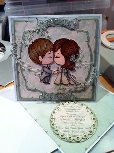 Handmade card by Gail Wolfe using the greeting farm wedding topper