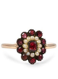 Garnet & Pearl Ring