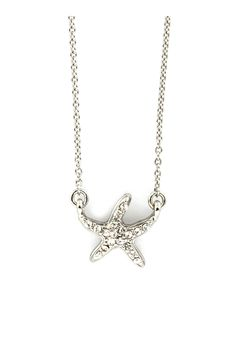 Tiny Crystal Starfish Pendant on Emma Stine Limited - perfect for that beach vacation!