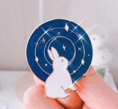 Galaxy Bunny Gold Enamel Pin